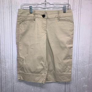 White House Black Market Long Khaki Shorts